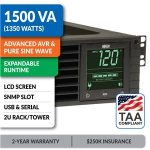 SM1500RMXL2UTAA SmartPro® 120V 1.5kVA 1.35kW Line-Interactive Sine Wave UPS, 2U, Extended Run, Network Card Options, LCD, USB, DB9, TAA-Compliant