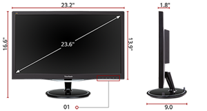 Viewsonic Vx2457 Mhd 24 Inch 75hz 2ms 1080p Gaming Monitor