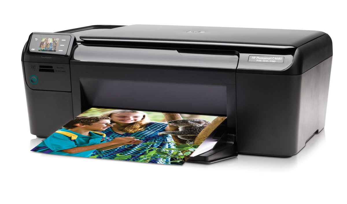 HP Photosmart C4680 Q8418A All-In-One Color Inkjet Printer - 4800 x 1200  Optimized dpi, 29 ppm Black, 23 ppm Color, 3000 Pages Per Month, Copying,  ...