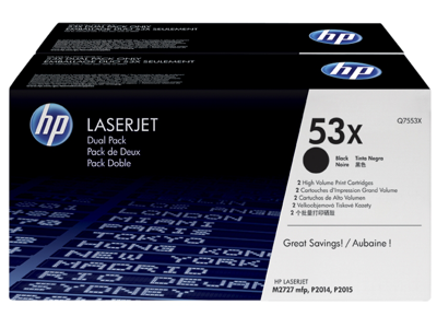 HP 53X 2-pack High Yield Black Original LaserJet Toner Cartridges
