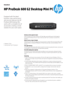 AMS HP ProDesk 600 G2 Desktop Mini PC Datasheet