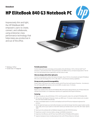 AMS HP EliteBook 840 G3 Notebook PC Datasheet