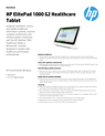 AMS HP ElitePad 1000 G2 Healthcare Tablet Datasheet