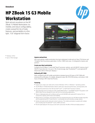 AMS NA HP ZBook 15 G3 Mobile Workstation Datasheet