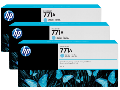 HP 771A 3-pack 775-ml Light Cyan DesignJet Ink Cartridges