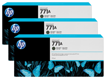 HP 771A 3-pack 775-ml Matte Black DesignJet Ink Cartridges