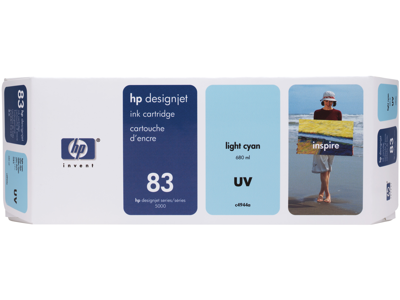 HP 83 680-ml Light Cyan DesignJet UV Ink Cartridge