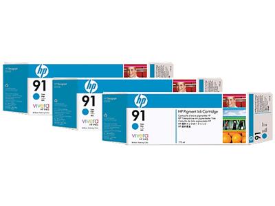 HP 91 3-pack 775-ml Cyan DesignJet Pigment Ink Cartridges