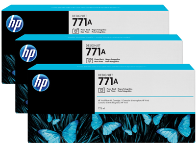 HP 771A 3-pack 775-ml Photo Black DesignJet Ink Cartridges