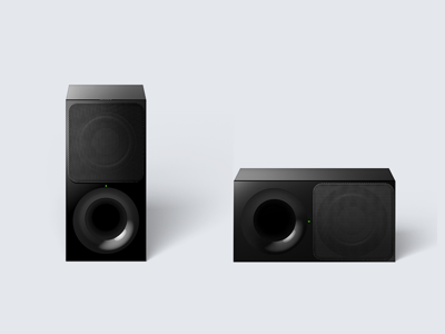 Dual-position, wireless subwoofer for flexible setup
