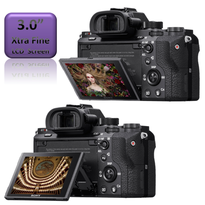 """3"""" LCD screen tilts up and down for easy high and low-angle framing."""