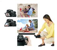 Capture subjects from any angle on the tiltable Clear Photo LCD
