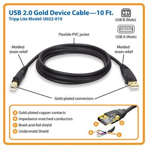 10 ft. USB 2.0 Gold Device Cable