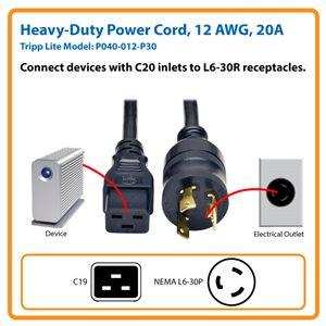 12 ft. Heavy-Duty Power Cord, 12 AWG, 20A (IEC-320-C19 to NEMA L6-30P)