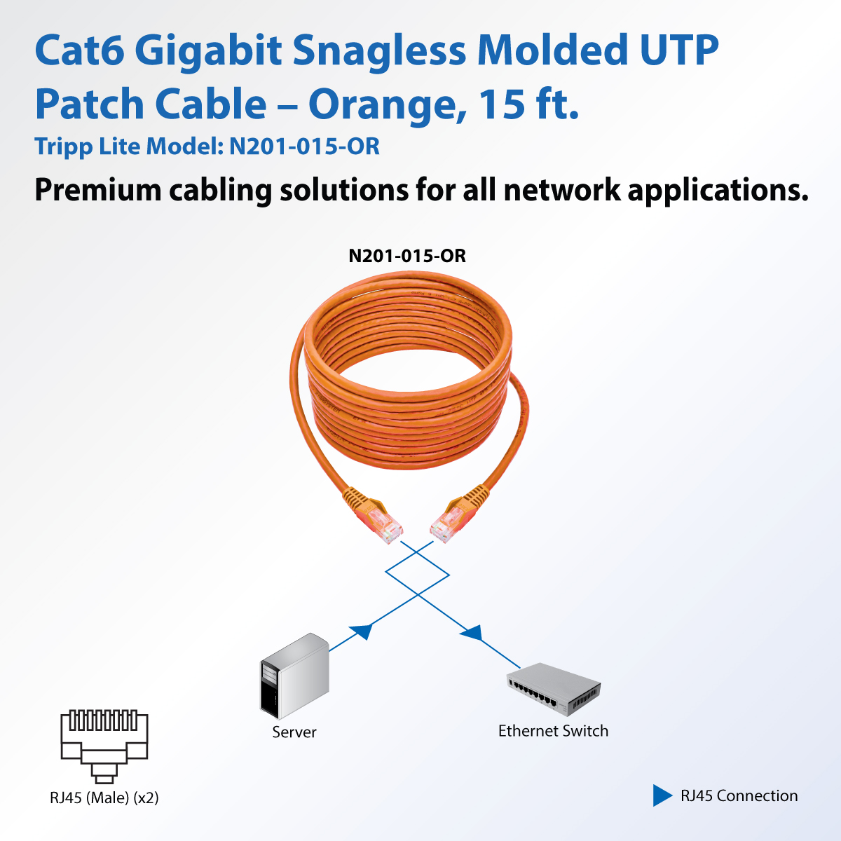 Tripp Lite 15ft Cat6 Snagless Molded Patch Cable Utp Orange Rj45 M Wiring Diagram How To Wire Your House With Cat5e Or Installation Product Image