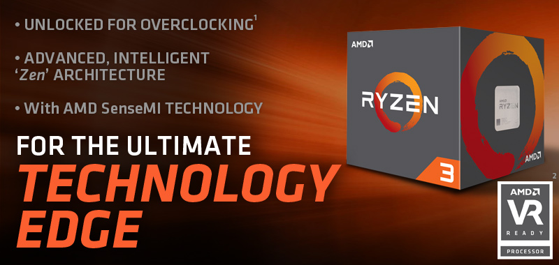 AMD Ryzen 3<sup>TM</sup> 1300X (Quad-Core, 3.7 GHz Boost) Desktop Processor with Wraith Stealth Cooler