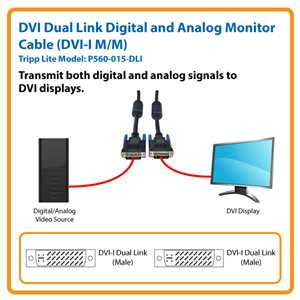 Transmit Digital and Analog Signals to DVI Displays up to 15 ft. from the Source