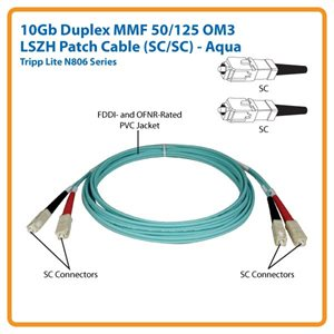 10Gb Duplex MMF 50/125 OM3 LSZH 3 ft. Patch Cable with SC/SC Connectors