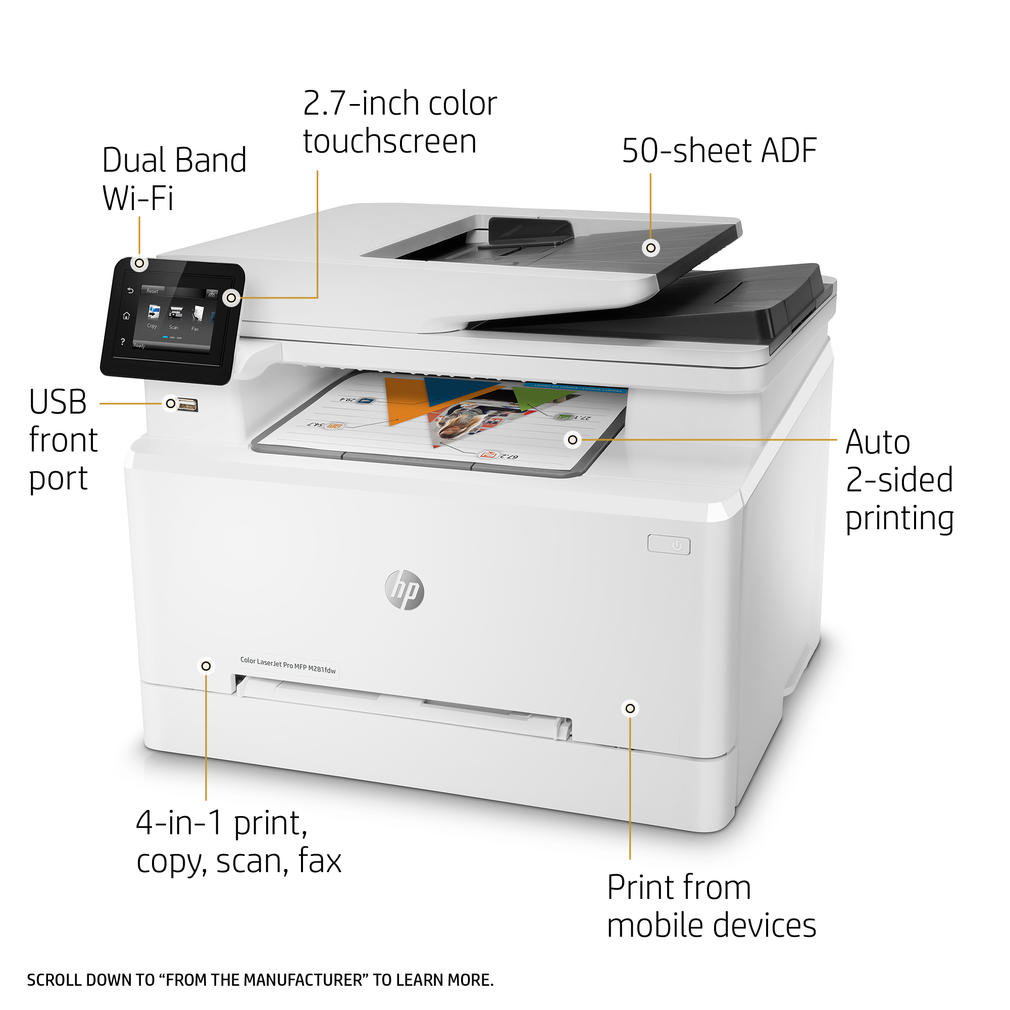 HP LaserJet Pro M281fdw Wireless Color Multifunction Laser Printer, 21 ppm,  600x600 dpi, 250 Sheet Input Tray - Print, Copy, Scan, Fax