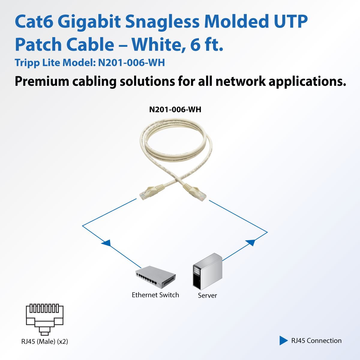 Tripp Lite 6ft Cat6 Snagless Molded Patch Cable Utp White Rj45 M 6 Diagram Category For Switch Hub Network Device Router Modem Server Adapter
