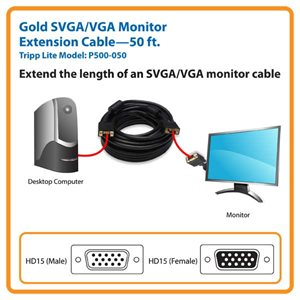 Extend the Length of an SVGA/VGA Monitor Cable 50 ft.