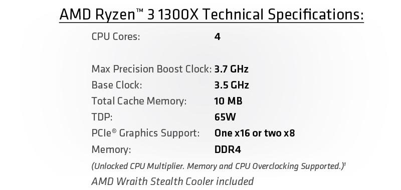 # AMD RYZEN™ 3 1200 / 1300X CPU # AMD AM4 @ 4C/4T