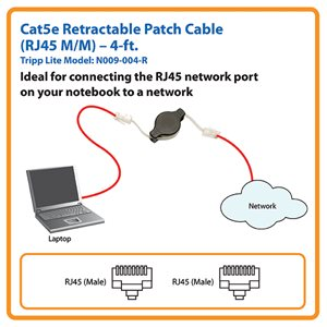 Cat5e Patch Cable Retracts into a Compact Reel for Convenience and Portability