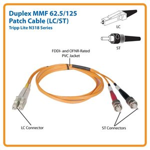 Duplex Multimode Fiber Channel LC/ST Patch Cable- 3 Meters