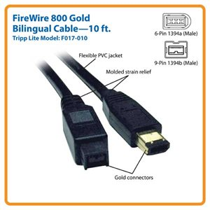 Connect Legacy FireWire Devices to a FireWire 800-Enabled Computer - 10 ft.