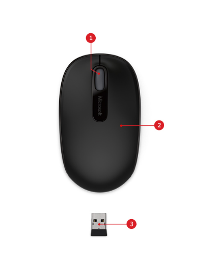 Microsoft Wireless Mobile Mouse 1850 - mouse - 2 4 GHz - black