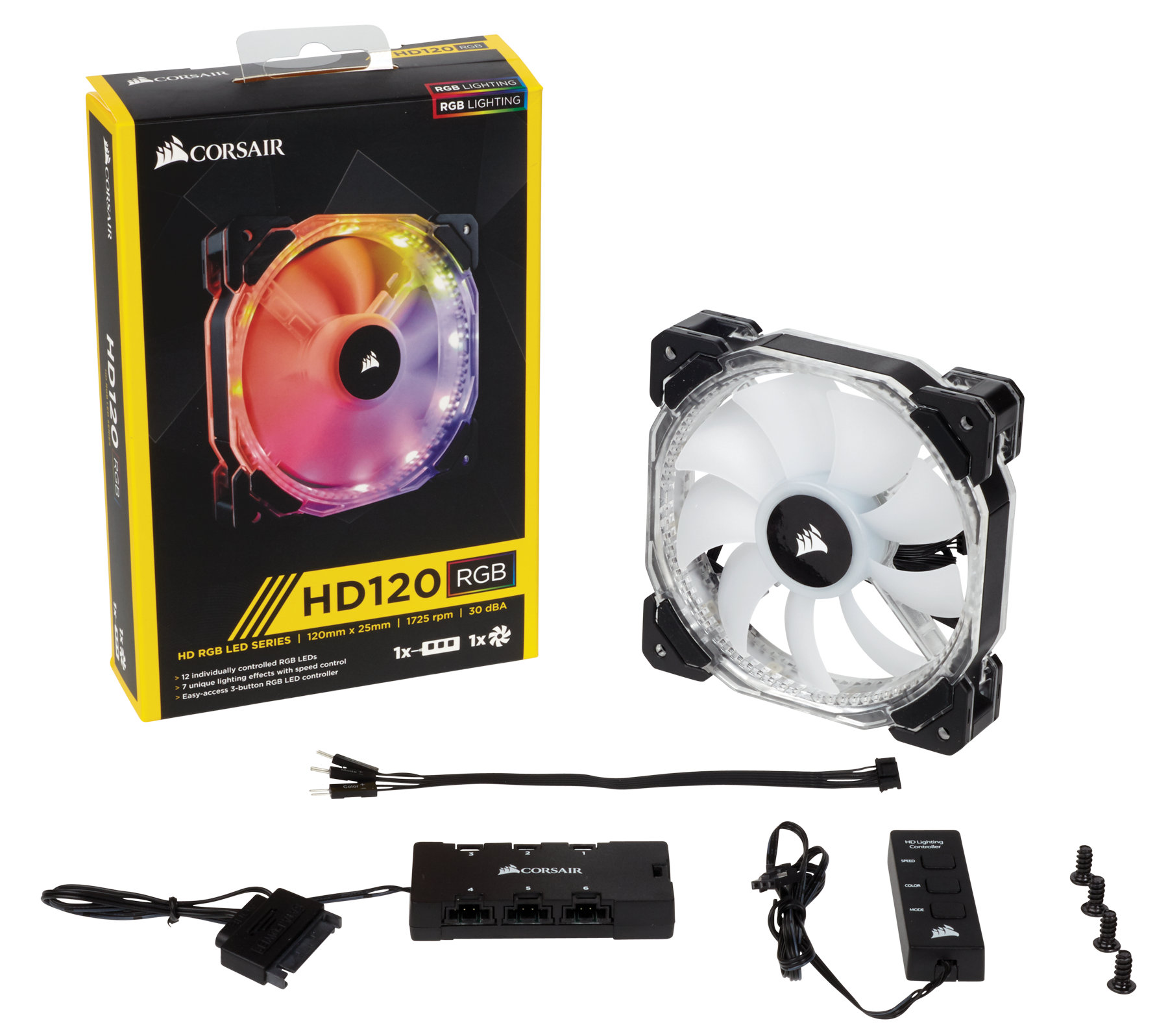 Corsair Hd Series Hd120 Rgb Led 120mm High Performance Dc Fan Controller Takes Bare Bones Approach Analog Content From Individually Addressable Pwm Case Co 9050067 Ww 3 Pack