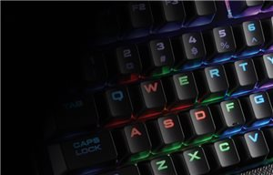 Advanced lighting control and large font keycaps