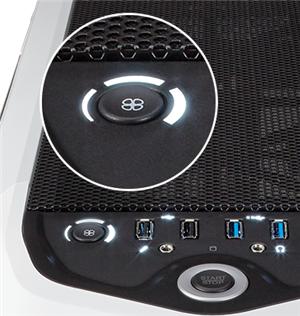 Dreistufige Lüftersteuerung an der Frontabdeckung und vier USB-Ports