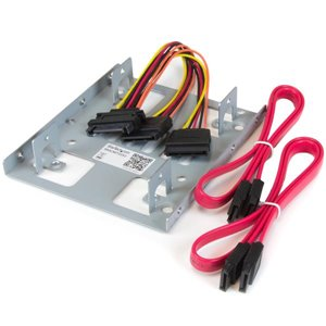 Mount two 2.5in SATA SSDs/HDDs into a single 3.5in drive bay