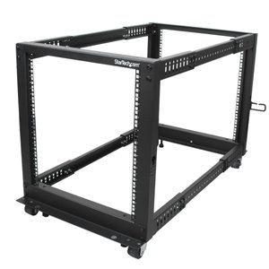 Store your servers, network and telecommunications equipment in an adjustable 12U open-frame rack