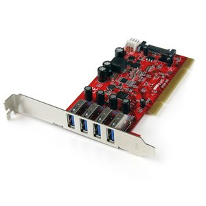 StarTech.com 4 Port PCI USB 3.0 Adapter Card with SATA / SP4 Power