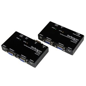 Extend and distribute a VGA signal and the accompanying audio to a remote display over Cat5 cable