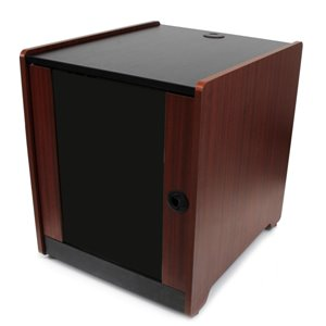 Store IT equipment discreetly in the office, with a stylish wood-finished server cabinet