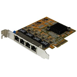 Add four Gigabit Ethernet ports to a client, server or workstation through one PCI Express slot