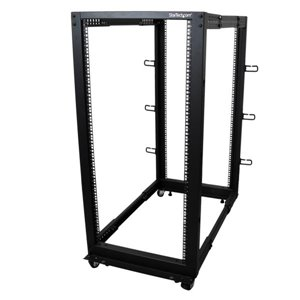 Store your servers, network and telecommunications equipment in an adjustable 25U open-frame rack