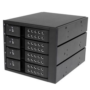 "Connect and hot swap four 3.5in SATA III or SAS II hard drives to your computer system in three 5.25"" bays, with support for transfer speeds up to 6 Gbps"