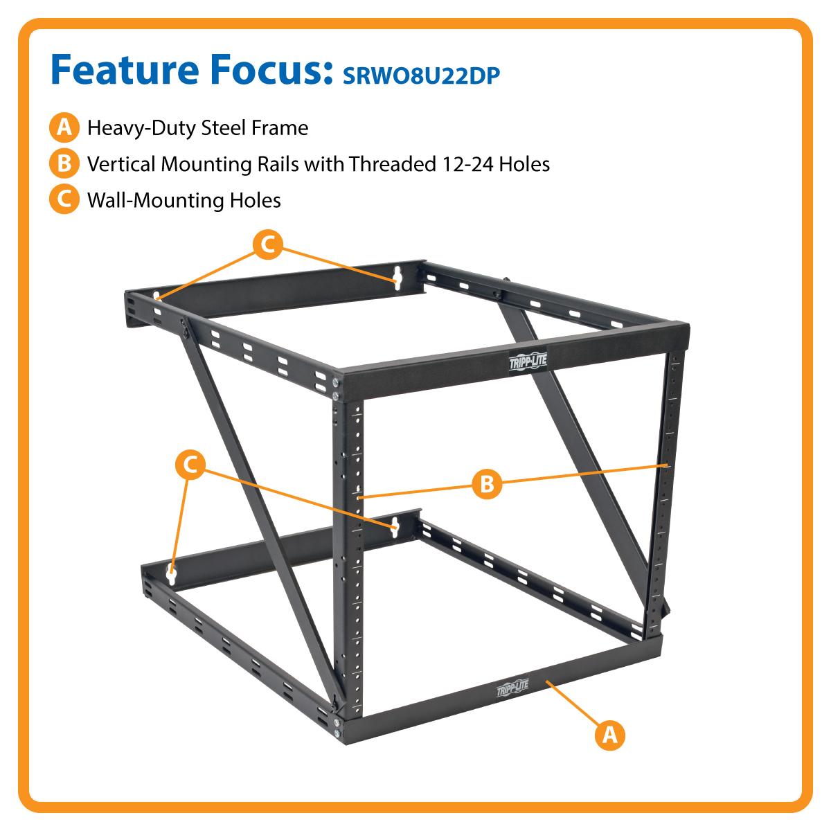 Tripp Lite 8U 12U 22U 2 Post Open Frame Rack Cabinet Expandable 23 5
