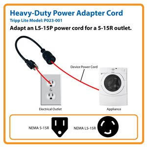 1-ft. Power Adapter Cord Converts an L5-15P Plug for Use with a Standard 5-15R Outlet (NEMA L5-15R to NEMA 5-15P)