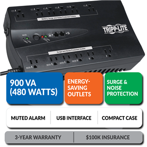 ECO900UPSM Ultra-Compact Eco-Friendly Standby UPS with Energy-Saving Outlets and Muted Alarm