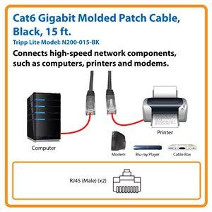 Cat6 Gigabit Molded Patch Cable (RJ45 M/M), Black, 15 ft.