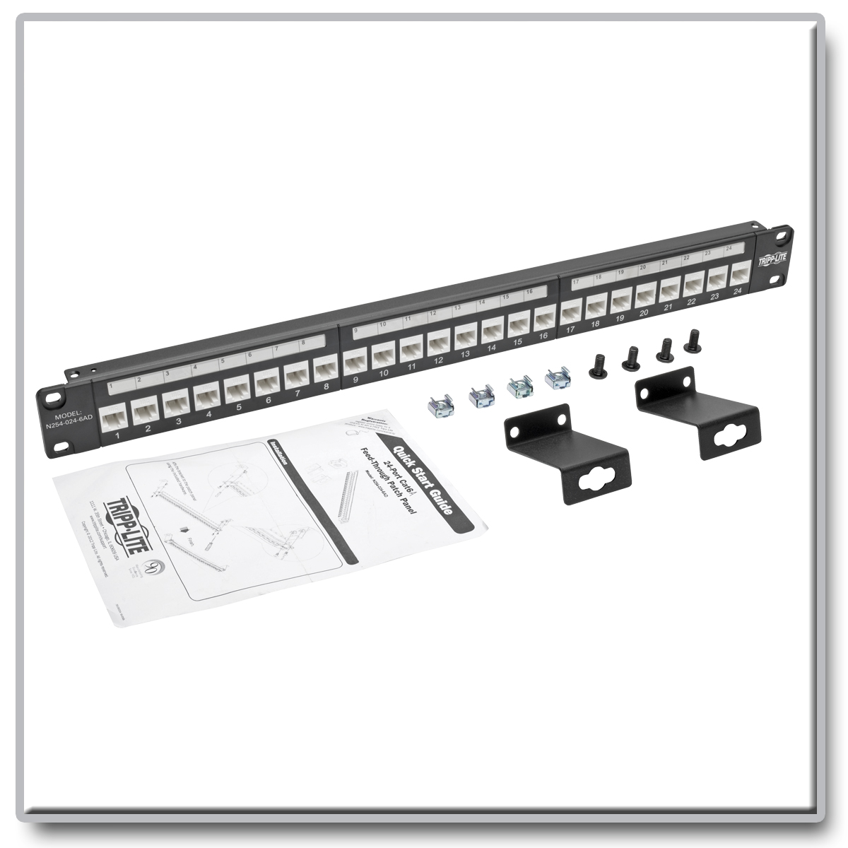 19inch Cat6 Utp Patch Panel T568a T568b Wiring 1ru 110 Termination Tripp Lite 24 Port Cat6a Feedthrough W Down Angled Ports Product Image