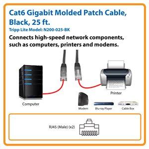 Cat6 Gigabit Molded Patch Cable (RJ45 M/M), Black, 25 ft.