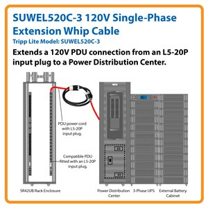 3 ft., 120V Single-Phase Extension Whip Cable for 3-Phase Power Distribution Cabinets (L5-20R to L5-20P)