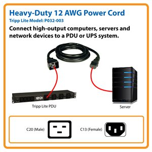 Heavy-Duty C13-to-C20 Power Cord Connects Your Computer to a PDU or UPS