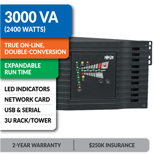 SU3000RTXL3UN SmartOnline® Double-Conversion Rack/Tower Sine Wave UPS with Expandable Runtime, Pre-Installed Network Card
